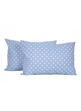 2'li 50x70 Ranforce Yastık Kılıfı - Mavi Yıldız Desenli