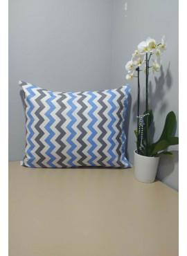 2'li 50x70 Ranforce Yastık Kılıfı - Mavi Zikzak Desenli