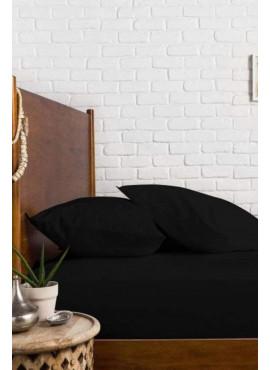 Battal Boy Kumaş Lastikli Çarşaf Takımı Siyah 180x200